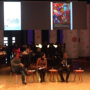 Eka Kurniawan and Triyanto Triwikromo in Pavilion, FBF 2015.
