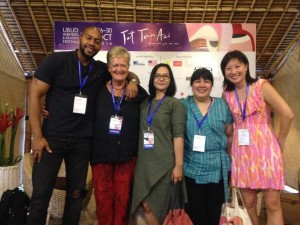 "After the session ""Evolving English"" with Mitchell S. Jackson (USA), Gill Westaway (our moderator, Ratih Kumala, Leila S. Chudori, and Cheryl Lu-Lien Tan (Singapore)."