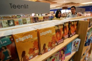 The teenlit section of Gramedia bookstore contains novels by young emerging writers. (JP/R. Berto Wedhatama)
